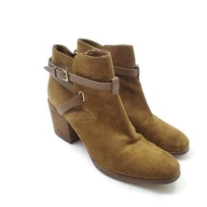 Crown Vintage Suede Olive Tan Fall Heeled Booties